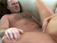 Pretty blonde gives his guy a deepthroat blowjob and moans as she is fucked hard in her pussy