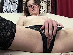 This nerdy girl has a sexual devil living in her pussy! Babe fingers herself hard and then grabs that huge dagger in her sweet mouth!