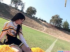 Watch the naughty brunette teen belle Ashlyn Rae wearing her sexy cheerleader uniform while giving her man a hell of a blowjob.