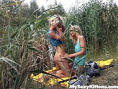 These are luscious blond chicks with sexy bodies. They chill near the river having picnic. They go naughty caressing one another sensually starting passionate lesbian sex. Watch them eating one another's tasty pussy on cam.
