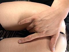 Peppering Japanese babe in black lingerie and stockings gets banged in doggy style by rapacious daddy before she sits with legs spread aside to get her cunt stretched in peppering sex video by Jav HD.