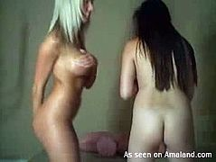 Three blond and black haired chicks are already naked. Kinky gals turn on cam to boast of their nice slender bodies, smooth rounded asses and sweet boobs passionately. Gosh, just don't pass by this GF Network sex clip, cuz you'll surely jizz in a flash.