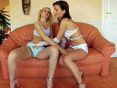 Couple of well stacked gorgeous lesbo babes flaunt their bodies in lingerie. They get naked and start eating each other's tasty puffy pussies.