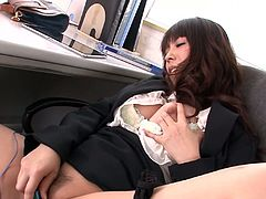 Zealous slim and pale brunette from Japan works as a secretary. This spoiled gal in office suit has a special method to relax after a tiresome day. Wondrous bitch has an egg vibrator in her drawer to please her wet pussy every single day.