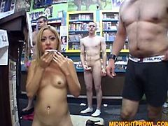Well, you've got a chance to see a real cum addicted slut in Pornstar sex clip. Kinky slim chick wears only black stockings and heels while wandeing in the shop. As soon as she wins a stiff dick whorish bitch kneels down to suck it passionately for sperm.