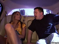 Pornstar sex clip provides you with a really hot blondie in sexy bright golden dress stretches legs wide on the back seat of the limo. She wears no panties on and her wet pussy is opened. Horny BF doesn't waste time and rubs it passionately causing gorgeous curvy gal moan of delight.