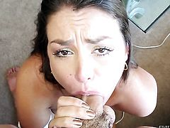 Allie Haze is in heaven blowing Jonni Darkko's cum loaded man meat