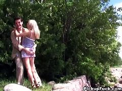 Horny European guy brings along his trusty cameraman as they go in search of chicks on the street willing to suck their cock in public or have hot sex. Wonder if they'll convince this blonde cutie.