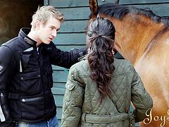 Seth Strong visits Paige Turnah in the stables to see how her work is going. She invites him inside and he sticks his hand up the back of her skirt. He fingers her pussy hard and fast. He bends down to give her cunnilingus and then she makes him a blowjob.