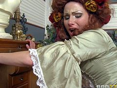 Cheating hot ass redhead Veruca James with juicy hooters in white stockings gets fucked hard by muscled Johnny Sins and takes on his cock like crazy in arousing fantasy