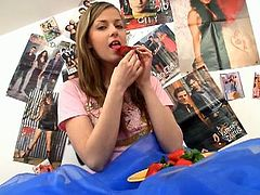 There is almost nothing I love more than that taste of sweet fruit in my mouth.  Sucking on this juicy strawberry makes my little pussy tingle.  I guess it must be all those juices dripping down my chin that gets me so excited.  It makes me fantasize about a guy or another naughty teen sucking on the tasty peach between my legs.  Since I can`t lick my own pink pussy, I got out a special toy instead.  My sleek purple vibrator never fails to please my hot twat and I love to push it deeper inside my snatch than ever before. When I get the vibrating rod into my wet pussy, I start trembling and sha