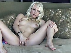 Ashley Jane with tiny boobs and smooth beaver cant stop touching her honeypot