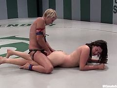 Two smoking hot catfighters meet each other in the tournament again. Last time Kiki won the match with a double cum. This time Vendetta shows herself well!