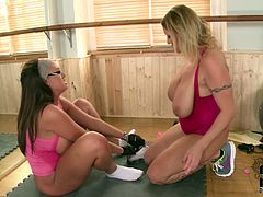 These two hoes are big fat sluts with huge boobs. They have dirty lesbian sex in a gym. Watch them scissoring on a floor pleasing one another's pussies. Nasty porn clip presented by DDF Network.