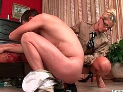 His ass takes huge toy from the mistress