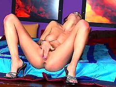Pretty young brunette Alice Romain with perfectly shaped natural boobs and slim sexy body gets naked while teasing and polishes wet cunny to orgasm in arousing solo session.