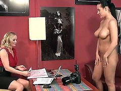 Black haired tempting Carmen Croft with pony tail in tight jeans gets naked at the interview for experienced blonde milf and reveals her stunning hooters with great pride.