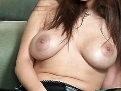 Sabrina Maree with gigantic breasts and trimmed muff has some time to play with her love tunnel