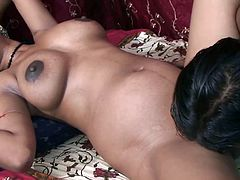 Amateur and sexy Indian wife has shaved and sweet brown pussy. Her husband eats that spicy pussy and then she gives him head on homemade sex video.