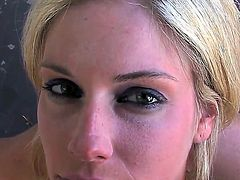 Pretty blonde Fayth Deluca with nice body and heavy make up gives nice blowjob to filthy dude covered with tattoos and swallows massive load of cum while her films her.