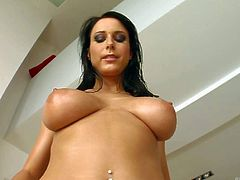 Turned on black haired bombshell with big juicy knockers and long legs gets naked while teasing and stuffs her round bouncing ass with large toy in amazing solo fantasy