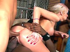 Slender smoking hot pretty blonde Kaylee Hilton gives head to many filthy black dudes and gets her tight ass and hairless wet honey pot drilled deep at the same time.