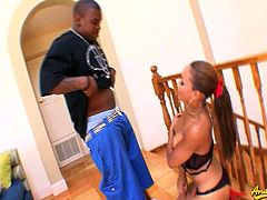 Cassidy clay gags herself on her man's black cock