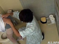 She has awesome pair of boobs, pretty face and juicy thighs. Look how this horny Japanese slut is making out, with one of her patient at the hospital. He gropes her boobs and after revealing this naughty nippon's pussy, he doesn't wait a minute to suck that juicy cunt, between her sexy thighs.