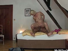 Great scandal after sex with mother in law! Don't miss this hot video as horny mature wraps her lips around her son-in-law's cock  and fucks hard while daughter is away.
