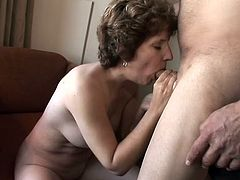Granny Amy has a big sex drive and sometimes she likes spending some time alone to masturbate. When grandpa Savage found her rubbing her pussy he gave her something else to play with, which was his dick. Amy immediately sucked it with lust and then got her pussy stuffed with it like she always does.
