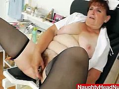 Watch the perverse brunette mature Marsa showing her nursing skills by examining her hairy pussy with some very kinky instruments.