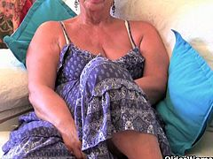This blonde granny is still horny, so she pleasures herself with an egg vibrator and by fondling her tits.