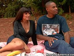 Busty and arousing brunette milf Lisa Ann enjoys in having a nice picnic in the nature and getting her hands on the hard boner in front of her