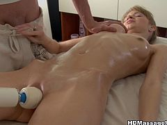 This slim babe has her entire body massaged with oil. Then, her pussy gets a vibro massage and a good fuck.