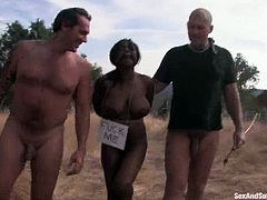 It's an interracial outdoors MMF BDSM threesome where a busty ebony gets tied and fucked hard by two guys.