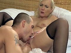 This sex addicted blonde MILF takes her lingerie off and gives skillful blowjob to a guy. After that she gets her vagina licked and drilled.