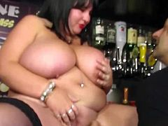 This busty bbw barmaid gets fucked at her workplace. It seems she likes meaty tips too, not just money.