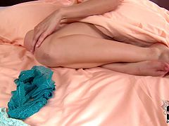 Dark-haired brunette enchantress with a nice ass loves to masturbate