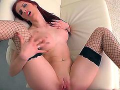 Hot redhead babe Mira Sunset gets her ass spanked and fucked by her lovely and hard boyfriend
