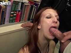 Kinky black haired gal with sweet tits and smooth ass desires to be fed with delicious gooey sperm. Zealous slim and pale chick in black stuff stands on knees in front of bald headed stud and sucks his tasty hot dick for sperm passionately.