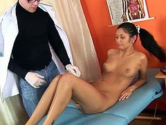 This chick relies on her gynecologist to do her regular check-up. He inserts his fingers and a speculum in her pussy hole.