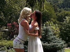 Two seductive babes blond and brunette hook up for steamy sex session. They take off each other's clothes before sizzling brunette inclines to give a tongue fuck.