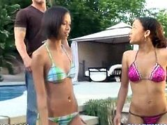 Two kinky girls are going to have fun in the pool before a white cock comes to interrupt them and allure them for a threesome.