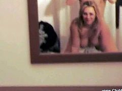Watch this horny busty blonde house wife getting fucked in her ass by her man.She loves to watch her self getting fucked so she puts mirrors in her bedroom.Enjoy this hot homemade amateur anal video.