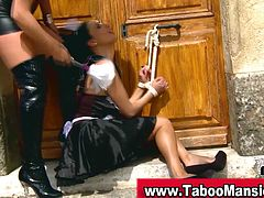 Lesbo domina spanks and gets pussy licked by a hot maid outdoors. If you love lesbians you just can't miss these super hot babes!