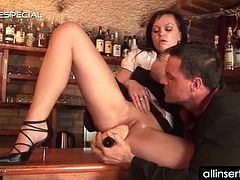 Hot waitress sucking huge dildo gets it shoved in her cunt