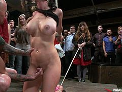 A dirty brunette cock-sucker gets tied up and fucking fucked hard in this hot bondage scene where she's totally humiliated, check it out!