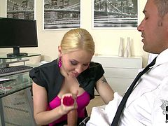 His secretary is a mouth-watering slim blonde chick. Good looking babe with glasses turns him on and he pulls out his dick to fuck her sexy mouth. She gives blowjob to her boss eagerly.