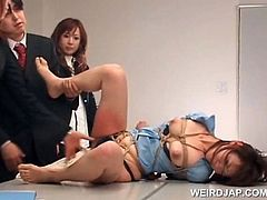 Asian sex slave gets submitted to sexual teasing in a group