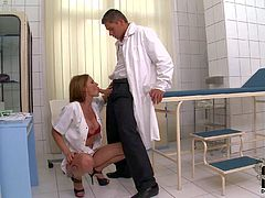 Slutty brunette nympho Abbie Car with round firm ass and big juicy hooters in red underwear and white coat takes on two stiff meaty cocks in provocative doctor fantasy